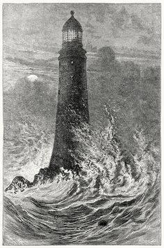 oldbookillustrations:  Smeaton's lighthouse at the Eddystone. From The story of our lighthouses and lightships, by W. H. Davenport Adams, London, 1891. (Source: archive.org)