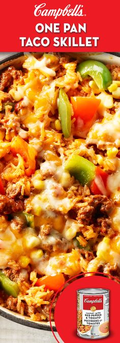One Pan Taco Skillet lb g) lean ground beef 1 red pepper, 1 green pepper, cut into chunks 1 can CAMPBELL'S® Condensed Roasted Red Pepper & Tomato Soup 1 cups mL) water 1 tbsp mL) chili powder 2 tsp mL) onion powder 1 cups mL) white rice 1 … Casserole Recipes, Meat Recipes, Cooking Recipes, Healthy Recipes, Taco Casserole, Beef Tomato Soup Recipe, One Pot Meals, Main Meals, Campbells Soup Recipes