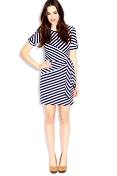 e8c54b903421d6 Black and white jersey wrap dress Striped Jersey