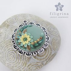 Polymer clay filigree applique technique, handmade jewelry, round pendant, vintage green and beige and ivory yellow, wedding jewelry, flowers, floral jewelry Handmade pendant NEPHRITE with floral motif silver by Filigrina, €22.99