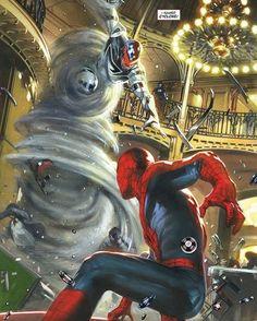Spidey V Cyclone!! Art by @gabrieledellotto  #SpiderMan #Cyclone #Marvel #MarvelComics #Comics #ConceptArt #Art #Artist #Superhero #Villain