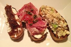 Bruschettas (Goat Cheese with Caramelized Onions / Prosciutto with Mozzarella, Red Pepper and Capers / Gorgonzola Apple, Walnut Drizzled with Honey) from Spuntino Wine Bar in Clifton, NJ