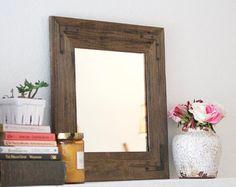Wood Mirror  Small Rustic Modern Mirror  Reclaimed by HurdandHoney