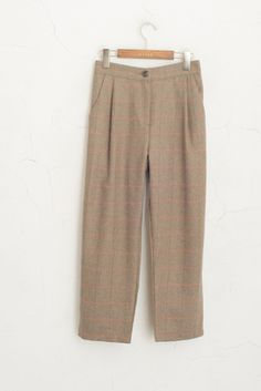 Wool Blend Check Trousers, Beige