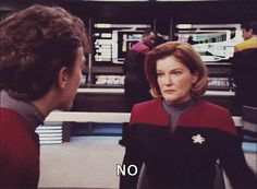 Star Trek Voyager - Captain Kathryn Janeway (Kate Mulgrew) - No means NO!