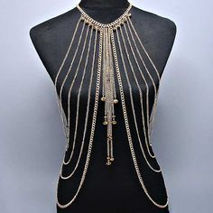 Gold Multilayer Tassel Body Chain - Halloween Costume / Cosplay Accessory Piece - Egyptian