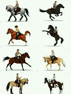 this is lovely! I like how Jean got one that looked like Spirit :) attack on Titan shingeki no kyojin// i love this, especially Jean and Erwin's horses. They're so beautiful Armin, Levi X Eren, Levi Ackerman, Attack On Titan Funny, Attack On Titan Anime, Anime Manga, Anime Art, Snk Cosplay, Animes On