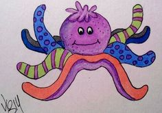 "Aceo Original  ""OCTOPUS  RAGGEDY DOLL""  pencil/ink"