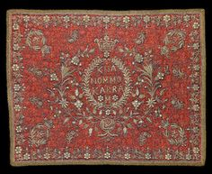 Qajar seed-pearl and metal-thread embroidered woven wool Termeh Panel with the name of Mokarram Khanom, probably from the court of Muzzafar al-Din Shah Qajar Persia, dated AH 1302/ AD 1884 or AH 1320/ AD 1902-03 88 x 72 cm.