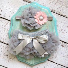 Baby Girl TuTu Bloomers Chiffon Ruffle Diaper Cover Grey Gray Pink White Flower Headband Set Newborn Photography Prop 0 3 6 9 12 18 months