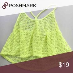 PINK Victoria's Secret neon crochet crop top Labeled a medium but can fit between an XS-medium due to the fact that it's flowey and cropped. Can go over bikinis too! No trades. E169 PINK Victoria's Secret Tops Crop Tops