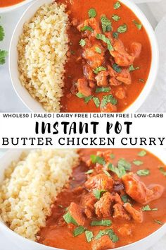 This Instant Pot Butter Chicken Curry is a quick and easy compliant take on the classic Indian dish that is made in less than 30 minutes using your favorite pressure cooker! Crock pot instructions also included! Healthy Chicken Recipes, Paleo Recipes, Cooking Recipes, Oven Recipes, Easy Recipes, Instant Pot Pressure Cooker, Pressure Cooker Recipes, Indian Food Recipes, Real Food Recipes