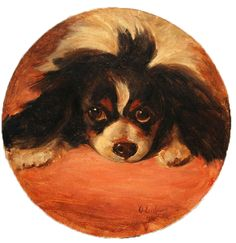 Click to see full size: Oil on card of a King Charles Cavalier Spaniel by Otto Eerelman (Dutch, 1839-1926) Roundel Oil on card of a head st...