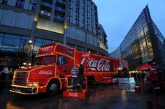 The famous Coca-Cola truck will be coming to four different locations in London this December Coca Cola Christmas, Tim Burton Art, Coke, Trains, Transportation, December, Wheels, Cooking Recipes, London