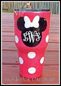 Disney 'Inspired' Glitter Cup-Glitter Ozark Diy Tumblers, Custom Tumblers, Glitter Tumblr, Ozark Tumbler, Mouse Silhouette, Disney Cups, Glitter Cups, Glitter Wine, Pink Glitter