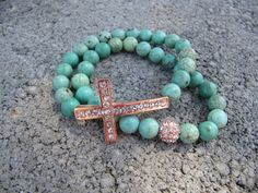 Turquoise Rose Gold Pave Crystal Sideways Cross by JillEliz123, $30.00