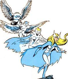 Snowbird (vôo alfa) (Marvel Comics) que gira de coruja na mulher