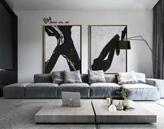 Large Set of 2 Painting, Set of 2 Wall Art Set, Canvas Painting, Hand painted Abstract Painting, Black white brown – Ethan Hill Art – Wanddekoration Large Canvas Wall Art, Canvas Art, Canvas Ideas, Diy Canvas, Painting Canvas, Canvas Frame, Living Room Designs, Living Room Decor, Decor Room