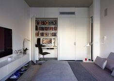 trendy-teenage boy bedroom design modern gray colors white furniture dark floor