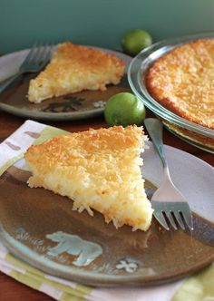 Arctic Garden Studio: Incredible Coconut Key Lime Pie (an Impossible Pie)- This incredible batter separates into a coconut crust with a custard key lime filling. It's impossible not to have another slice.