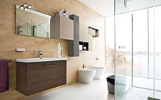 Stylish Wall Cabinets On Modern Bathroom Design Feat Horizontal Mirror Plus Adjacent Urinal And Toilet