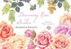 Dreaming Rose Garden Watercolor by AurAandTheCat on @creativemarket