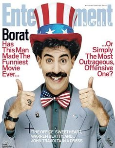 Sacha Baron Cohen as Borat - Entertainment Weekly magazine Good Funny Movies, Great Movies, Bond, Sacha Baron Cohen, Warren Beatty, John Travolta, Entertainment Weekly, This Man, Caricature