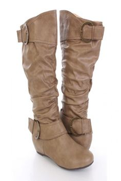 Camel Faux Leather Slouchy Thick Strapped Mid Calf Boots