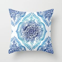Indian Ink - in Blues pillow by Micklyn #homedecor