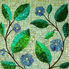 Love the use of blues and greens on a variegated neutral background.  Very calming to look at.