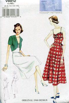 Vogue 8812 Retro 1940's Sundress Bolero Jacket Vintage Model Reproduction Old Store Stock Uncut by LanetzLivingPatterns on Etsy