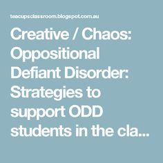 strategies working with oppositional defiant disorder
