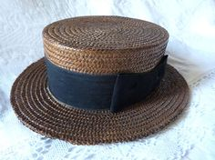 Antique French  straw boater hat  w silk 148f87456a4a