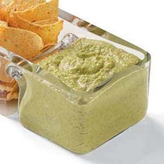 Healthy guacamole dip made mostly with green peas