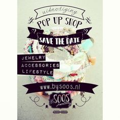Pop.up.shop van bySOOS, very strong style poster to convey the brand style, and love the save the date idea for the pop up shop however there doesn't seem to be a date to save on the poster.