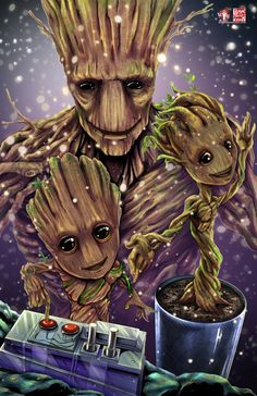 I think Groot in is the perfect size. We Are Groot Update) Marvel Films, Marvel Art, Marvel Characters, Marvel Heroes, Marvel Avengers, Marvel Universe, Gardians Of The Galaxy, Anime Gifs, Groot Guardians