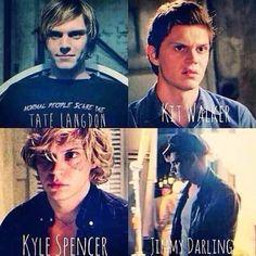 Tate Langdom, Kit Walker, Kyle Spencer, Jimmy Darling 4 seasons in one photo❤️ Evan peters American Horror Story