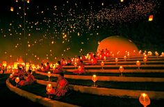 Incredible Yee Peng Festival - in Chiang Mai, Thailand.
