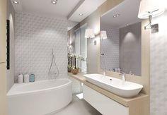 umywalka i ściana za lustrem - drewno przechodzace z szafki na ścianę
