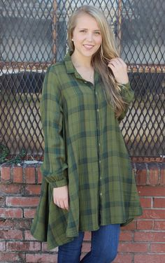 Bella Tunic - Olive Plaid | CP Shades | It's a Shopping Thing