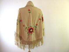 Vintage antique embroidered Mexican Shawl by dirtybirdiesvintage, $62.00