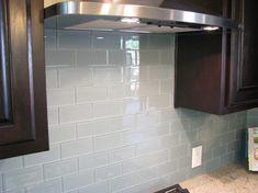 Gray ocean glass subway tile backsplash. Love this!! Subway Tile Outlet