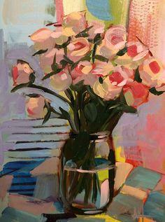 Spray Roses in Mason Jar Original Oil Painting by Angela Moulton pre-order