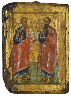 Peter and Paul, religious icons Religious Icons, Orthodox Icons, Illuminated Manuscript, Byzantine, Impressionist, Modern Art, Mosaic, Religion, Auction