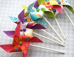For SUMMER! Summer FUN  Pinwheels Cupcake Toppers or by CupcakeSocial on Etsy, $8.00