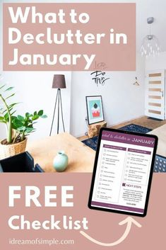 Let's reach your decluttering goals this year with 12 things to declutter in January! Download the free declutter checklist to build momentum and help you set the stage for a successful decluttering journey in 2021. Declutter Your Home, Organizing Your Home, Simple Blog, Make It Simple, Minimalist Living, Decluttering, Simple Living, My Dream, Organize