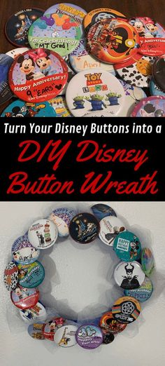 DIY Disney Button Wreath, a Disney Souvenir craft DIY Disney Button Wreath. Super easy Disney Dollar Tree craft to display all your Disney buttons that you get for free at the parks. Disney Crafts For Adults, Disney Diy Crafts, Crafts For Teens To Make, Crafts To Sell, Easy Crafts, Diy And Crafts, Bug Crafts, Horse Crafts, Kids Diy