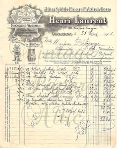1906 Antique French Invoice Document Pretty Letterhead Graphics & Typography