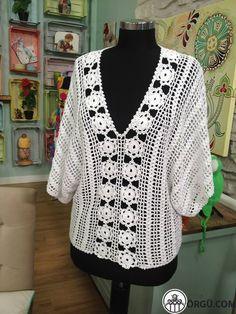 Crochet Tunic Pattern, Crochet Lace Edging, Crochet Poncho, Cotton Crochet, Crochet Cardigan, Love Crochet, Crochet Yarn, Knit Crochet, Crochet Patterns