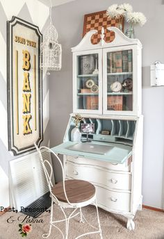 Lady Mary, My Gorgeous Antique Secretary Desk / Hutch (love the BANK sign, too!)